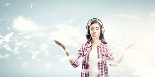 Girl with headphones Stock Photo