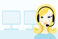 Girl with headset. In office Stock Photo