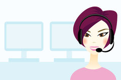 Girl with headset. In office Stock Image