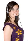 Girl with a headset Stock Photography