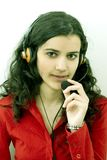 girl with headset Royalty Free Stock Images