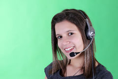Girl with headset Stock Photography