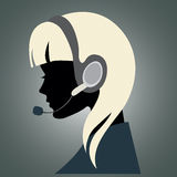 Girl with headset. Vector illustration of a young girl with headset Stock Photo