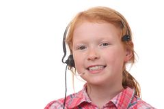 Girl with headset Stock Photo