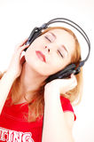 Girl with headset Stock Photos