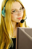 Girl in headset. Stock Images