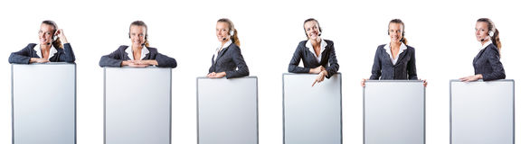 The girl with headset and blank board Royalty Free Stock Photography