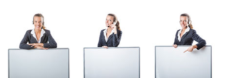 The girl with headset and blank board Stock Photos