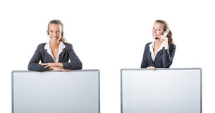 The girl with headset and blank board Stock Photo