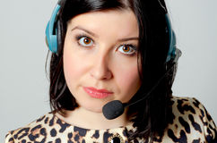 Girl in headset. Stock Photography