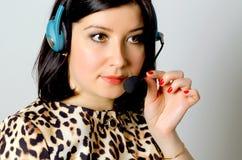 Girl in headset. Stock Image