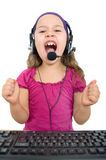 Girl with headset Stock Images