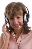 girl headset smiling royaltyfri fotografi