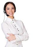 Girl with headset stock image