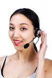 Girl with a headset Royalty Free Stock Images