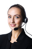 Girl with a headset Stock Images