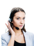 Girl with a headset Royalty Free Stock Photos
