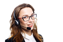 Girl with a headset Royalty Free Stock Photo