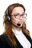 Girl with a headset Royalty Free Stock Photography