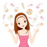 Girl With Health Skin Face And Body Icons Set Royalty Free Stock Photos