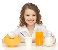 Girl with healthy breakfast Stock Image