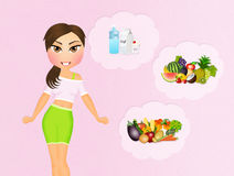 Girl and healthy foods Royalty Free Stock Image