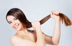 Girl with healthy hair Stock Photos