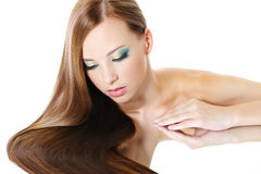 Girl with healthy long hair royalty free stock images