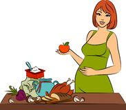 Girl with healthy meal ingredients. Stock Photography