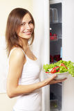 Girl with healthy salad Royalty Free Stock Image