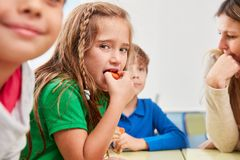 Girl is healthy vegetables for breakfast stock photography