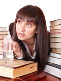 Girl with heap book and cup. Royalty Free Stock Images