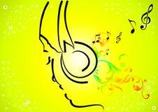 Girl hearing music Stock Image