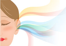 Girl hears music, hearing. Girl face, hearing colors of music Stock Photos