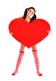Girl with a heart Royalty Free Stock Photos