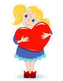 Girl with heart. On a white. Vector illustration Stock Image