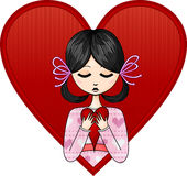 Girl with a heart. Young girl with a heart royalty free illustration