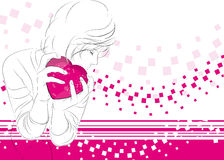 Girl with a heart Stock Photo