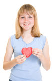 A girl with a heart Royalty Free Stock Photography