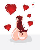 The girl and heart Royalty Free Stock Images