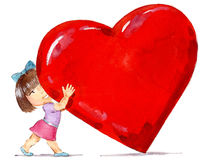 Girl with heart Royalty Free Stock Photo