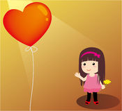 Girl and heart balloon. The girl in the field with heart balloon Royalty Free Stock Images
