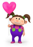 Girl with heart balloon. Cute little girl with heart-shaped balloon - high quality 3d illustration Stock Image