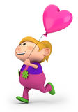 Girl with heart balloon. Cute little girl running with heart-shaped balloon - high quality 3d illustration Stock Images