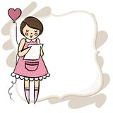 Girl with a heart balloon and letter on vintage fr Royalty Free Stock Photos