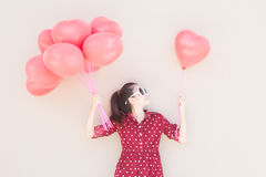 Girl With Heart Balloons Series Royalty Free Stock Images