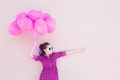 Girl With Heart Balloons Series Stock Photos