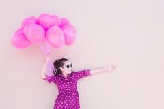 Girl With Heart Balloons Series Stock Photos