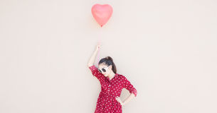 Girl With Heart Balloons Series Stock Image