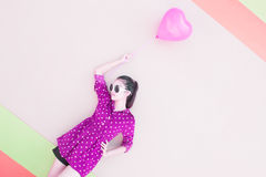 Girl With Heart Balloons Series Stock Images